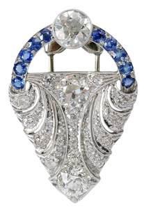 Platinum, Diamond & Sapphire Dress Clip