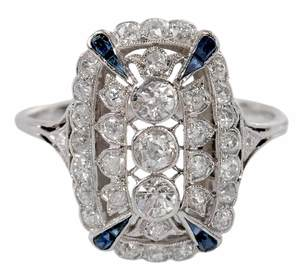 Platinum, Gold Diamond & Sapphire Ring