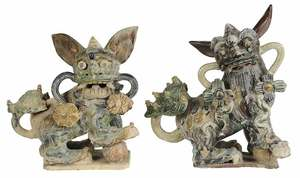 Two Chinese Ceramic Foo Dogs