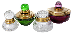Four Glass and Brass Mounted Inkwells