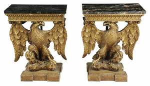 Pair George III Style Gilt Wood Console Tables