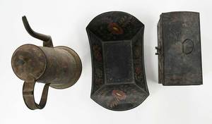 Three Pieces Painted Toleware