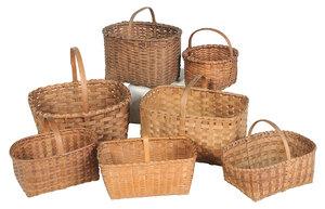 Seven Handled  Split Oak Baskets, Some Cherokee