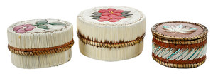 Three Native American Porcupine Quill Boxes