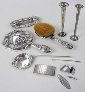 12 Sterling Dresser Items