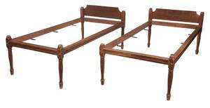 Pair American Federal Red Painted Twin Bedsteads
