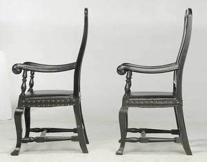 Pair American Queen Anne Style Arm Chairs