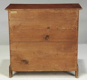 Chippendale Red Painted Birch Chest of Drawers