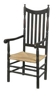 William and Mary Black Painted Arm Chair