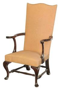 Queen Anne Style Mahogany Lolling Chair