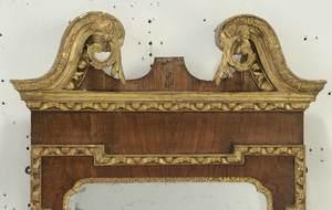 George II Parcel Gilt Walnut Mirror