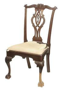American Chippendale Carved Mahogany Side Chair