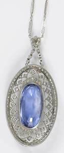 Antique Platinum, Sapphire & Diamond Pendant