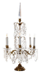 Louis XV Style Cut Crystal Table Sconce