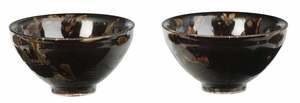 Pair of Tortoiseshell Glaze Tea Bowls with Box