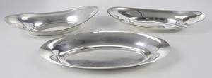 Three Sterling Oval Bowls