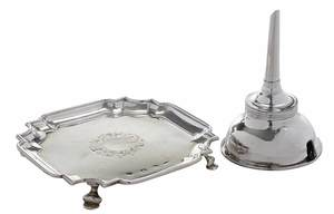 English Silver Salver and Wine Funnel