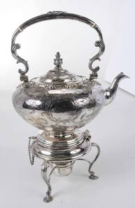 Silver-Plate Hot Water Kettle on Stand