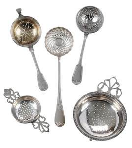 Five Silver Sugar Sifters and Tea Strainers