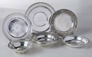 Seven Sterling Plates and Bowls