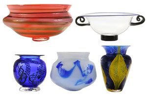 Five American Art Glass Vases