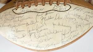 Group of Nine Signed Baseballs and a Football