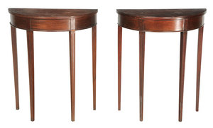 Pair Mahogany Demilune Side tables