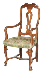 Italian Carved Mahogany Arm Chair