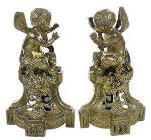 Pair Gilt Brass Chenets with Cherubs