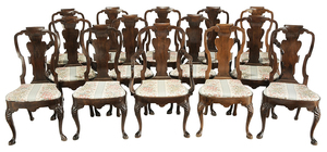 Set of 14 Irish Queen Anne Style Dining Chairs