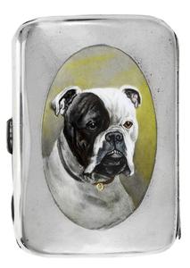 English Silver Case with Enamel Boxer
