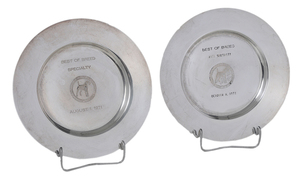 Two Sterling Trophy Plates