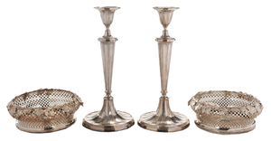 Pair Silver-plated Candlesticks and Coasters