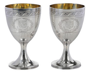 Pair George III English Silver Goblets