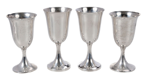 Eight Sterling Goblets