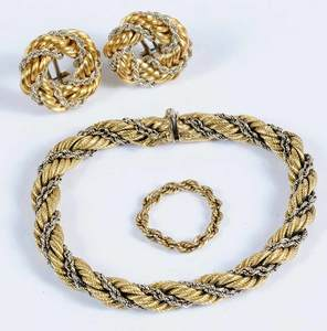 Three Pieces Gold Twisted Rope Jewelry
