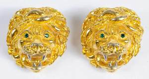 Pair of Judith Lieber Lion Head Brooches