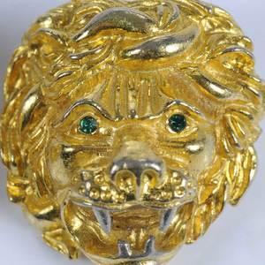 Pair of Judith Lieber Lion Head Brooches