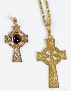 Two Gold Cross Pendants