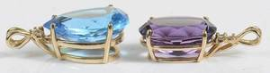 Two 14kt. Gemstone & Diamond Pendants