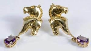 14kt. Amethyst Horse Earrings