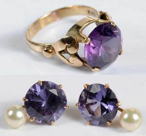 14kt. Synthetic Sapphire Ring and Earrings