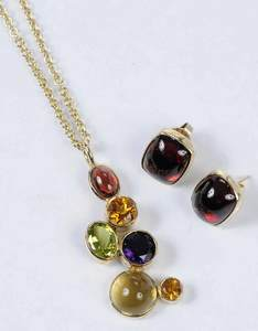 14kt. Gemstone Necklace and Earrings