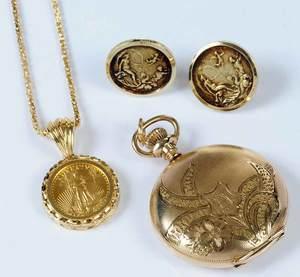 Necklace, Earrings & Pocket Watch