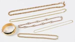 Five Gold Necklaces & One Bracelet