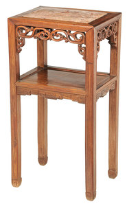 Chinese Carved Hardwood Marble Inset Stand
