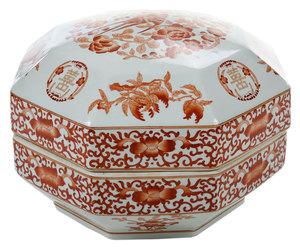 Iron Red, Gilt Octagonal Covered Porcelain Box