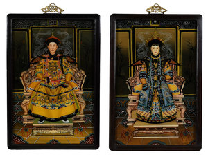 Pair Chinese Reverse Paintings on Glass