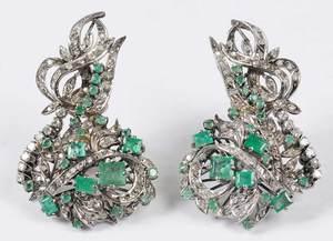Silver Emerald and Diamond Earrings