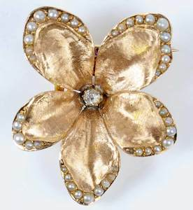 Vintage 14kt. Diamond and Pearl Flower Brooch